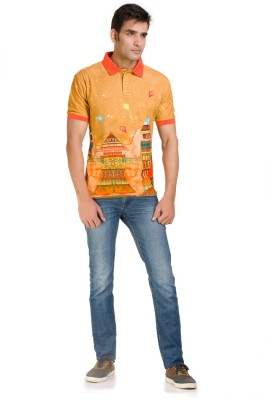 Color-Buckket Printed Men's Polo Neck Multicolor T-Shirt