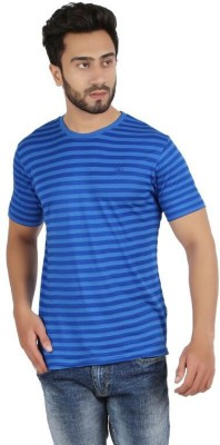 FAME FOREVER Striped Men's Round Neck Blue T-Shirt