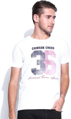 Harvard Printed Men's Round Neck White T-Shirt