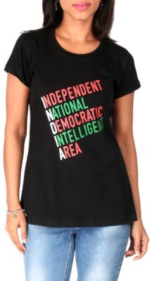Mad(e) in India Graphic Print Women's Round Neck Black T-Shirt