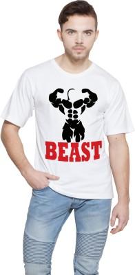 Shopping Monster Printed Men,s Round Neck White T-Shirt