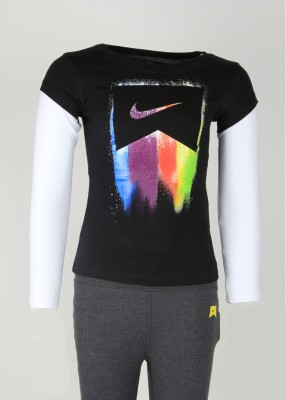 Nike Kids Printed Girl's Round Neck Black T-Shirt