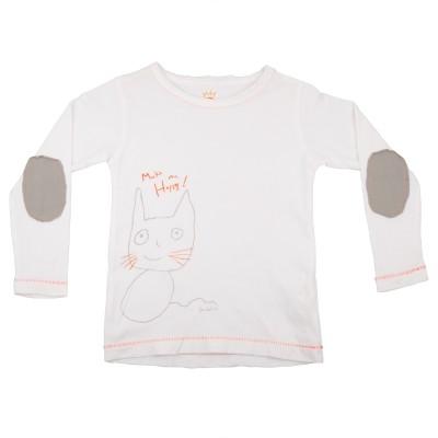 NeedyBee Printed Baby Girl's Round Neck White T-Shirt