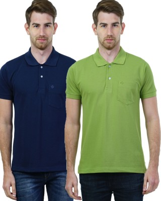 Seaboard Solid Men's Polo Neck Dark Blue, Green T-Shirt