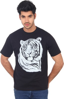 Wild Collection Animal Print Men's Round Neck T-Shirt