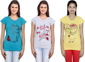 IndiWeaves Printed Women's Round Neck Multicolor T-Shirt(Pack of 3)