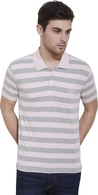 Urban Nomad By INMARK Striped Men's Polo Neck Pink, Grey T-Shirt