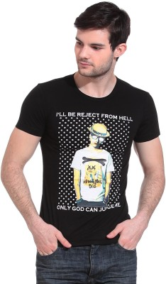 Wild Hawk Graphic Print Men's Round Neck Black T-Shirt