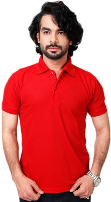 Louis Mode Solid Men's Polo Neck Red T-Shirt