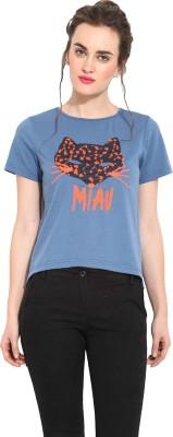 Rena Love Printed Women's Round Neck Blue T-Shirt