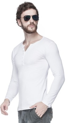 Tinted Solid Men's Henley White T-Shirt