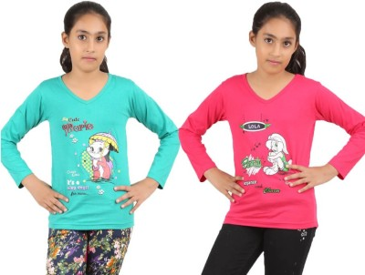 Meril Solid Baby Girl's Boat Neck T-Shirt