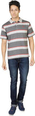 Being Odia Striped Men's Polo Neck Grey, Red T-Shirt