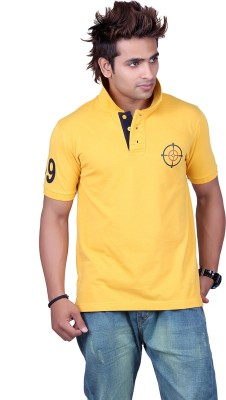 Counter Solid Men's Polo Neck Gold T-Shirt