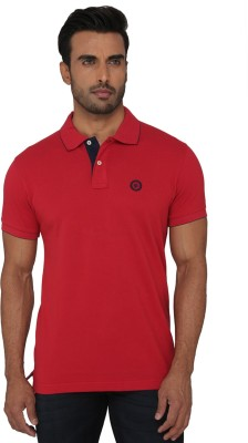 Greenfibre Solid Men's Polo Neck Red T-Shirt