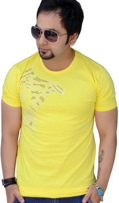 Black Collection Graphic Print Men's Round Neck Yellow T-Shirt