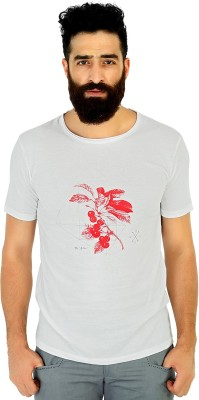 Mr Button Printed Men's Round Neck White T-Shirt