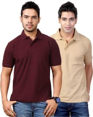 Top Notch Solid Men's Polo Neck Maroon, Beige T-Shirt