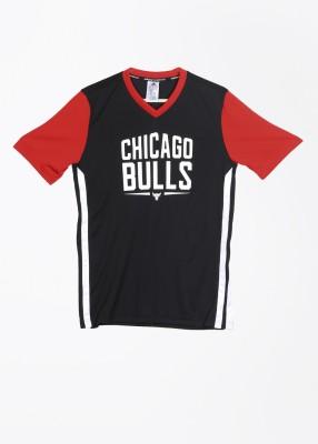 Adidas Printed Girl,s, Boy's V-neck Black, Red T-Shirt