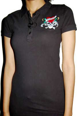 Ed Hardy Printed Women's Polo Red T-Shirt