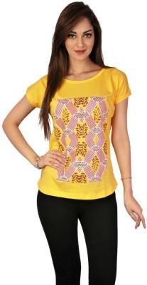 Go-Art Printed Women,s Round Neck Yellow T-Shirt