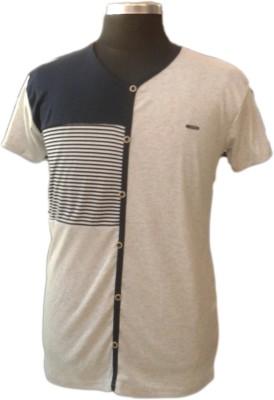 TOC Self Design Men's Round Neck Grey T-Shirt