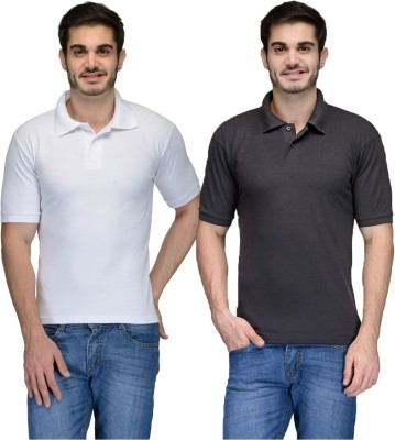 Feed Up Solid Men's Polo Neck Black, White T-Shirt