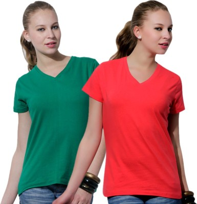 Rakshita's Collection Solid Women's V-neck Multicolor T-Shirt