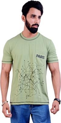 MOISTURE Printed Men's Round Neck Green T-Shirt