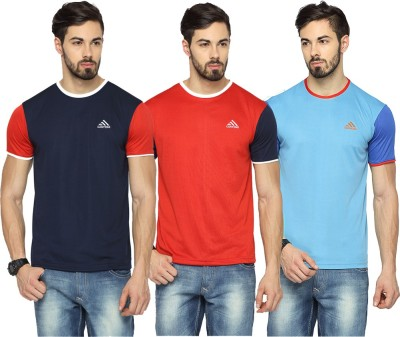 Canyons Solid Men's Round Neck Dark Blue, Red, Light Blue T-Shirt