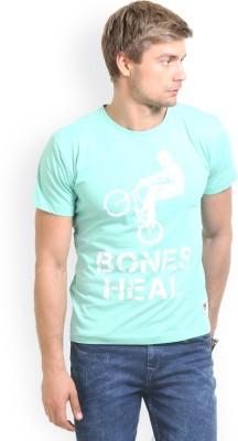 HW Printed Men,s Round Neck Green T-Shirt