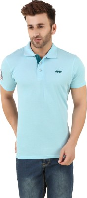 Spunk Solid Men,s Polo Blue T-Shirt