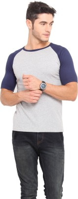 Northern Lights Solid Men's Round Neck Blue, Grey T-Shirt