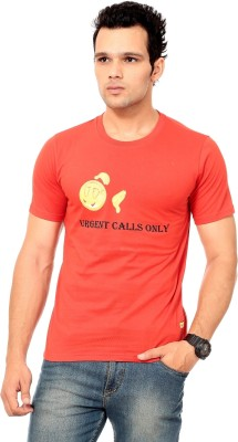 Texco Printed Men,s Round Neck Red T-Shirt