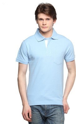 Tempt Embroidered Men's Polo Neck Light Blue T-Shirt