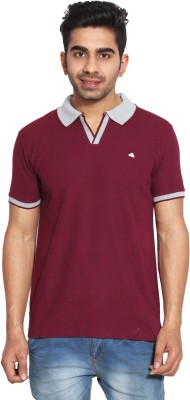LE BON TON Solid Men's Polo Neck Dark Blue, Red, Blue, Maroon, Black, Yellow, White T-Shirt