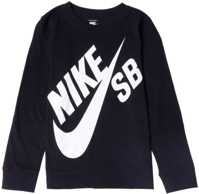 Nike SB Graphic Print Boy,s Round Neck Black T-Shirt