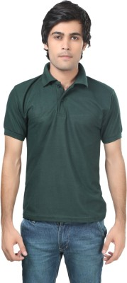 Trendy Trotters Solid Men's Polo Dark Green T-Shirt
