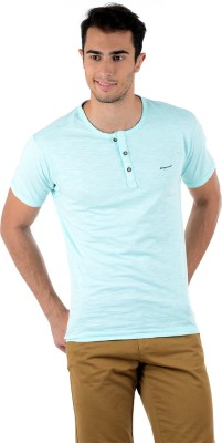 Mudo Solid Men's Henley Light Blue T-Shirt