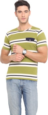 Northern Lights Striped Men's Round Neck Multicolor T-Shirt