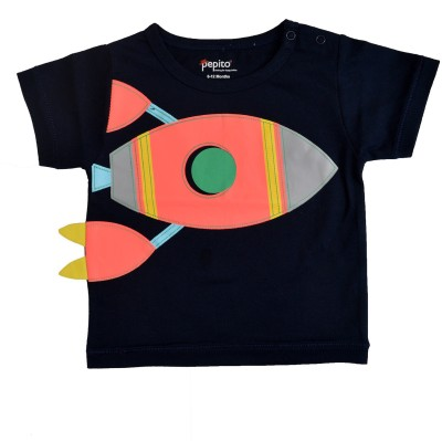 PEPITO Embellished Baby Boy,s, Baby Girl's Round Neck Blue T-Shirt