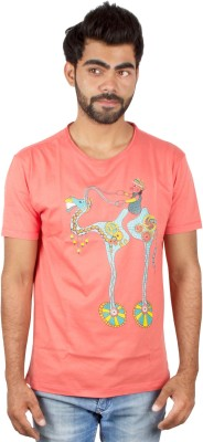 Pulpypapaya Printed Men's Round Neck Pink T-Shirt