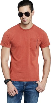 Route 66 Solid Men's Round Neck Red T-Shirt