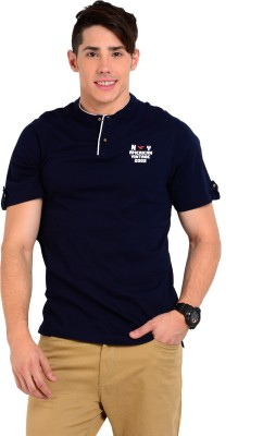 Sting Solid Men's Henley Blue T-Shirt