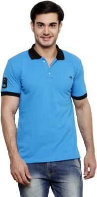 ominous Solid Men,s Polo Neck Dark Blue T-Shirt