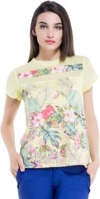 Kazo Printed Women,s Round Neck Yellow T-Shirt