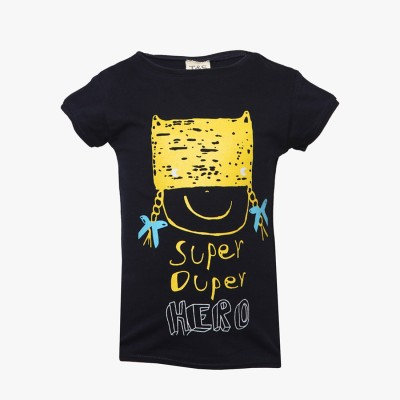 Tales & Stories Graphic Print Girl's Round Neck Blue T-Shirt