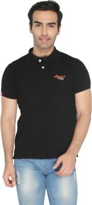 Again Vintage Solid Men's Polo Neck Black T-Shirt