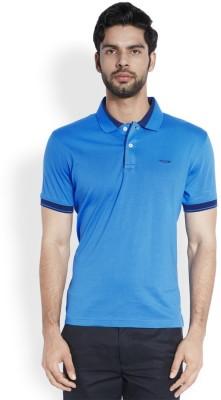 ColorPlus Solid Men's Polo Neck Blue T-Shirt