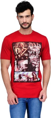 Ausy Printed Men's Round Neck Red T-Shirt